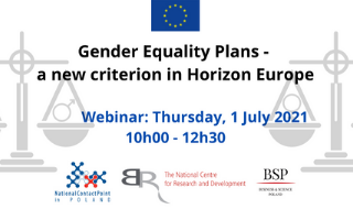 Webinarium Gender Equality Plans - a new criterion in Horizon Europe